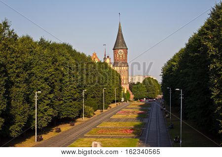 View to park and Cathedral in Kaliningrad