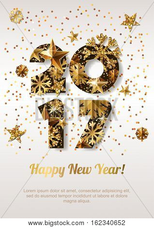 Happy New Year 2017 Vector Greeting Card With Golden Numbers. Abstract Holiday Glowing Background.