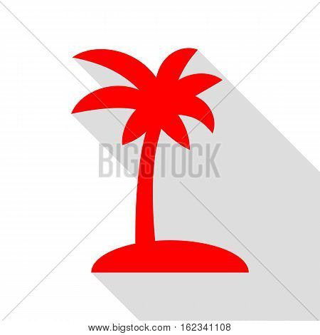 Coconut Palm Tree Sign. Red Icon With Flat Style Shadow Path.