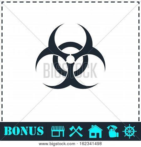 Biohazard icon flat. Simple vector symbol and bonus icon