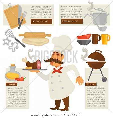 Vector set with cook and kitchen symbols. Chef and cooking design elements: meat on dish, bowl and mug, knife and fork, pan and bbq, paper and oil. Restaurant concept illustrations.
