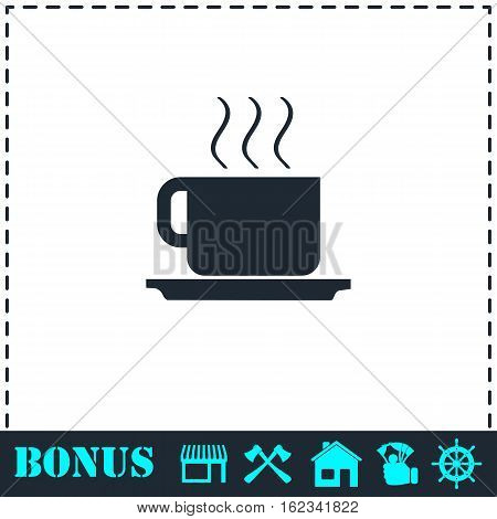 Coffee cup icon flat. Simple vector symbol and bonus icon