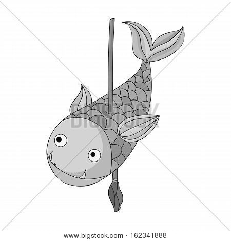 Fish on the spear icon in monochrome style isolated on white background. Stone age symbol vector illustration.