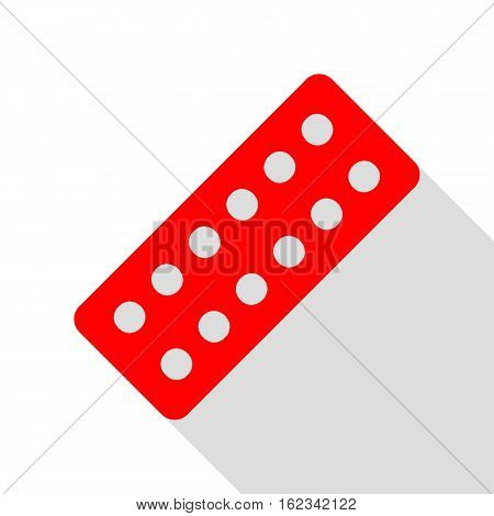 Medical Pills Sign. Red Icon With Flat Style Shadow Path.