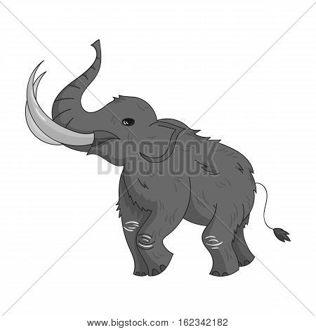 Woolly mammoth icon in monochrome style isolated on white background. Stone age symbol vector illustration.
