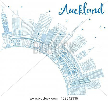 Outline Auckland Skyline with Blue Buildings and Copy Space. Business Travel and Tourism Concept with Modern Architecture. Image for Presentation Banner Placard and Web Site.
