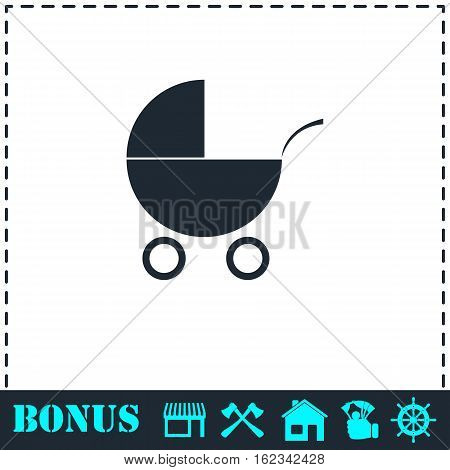 Pram icon flat. Simple vector symbol and bonus icon