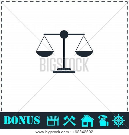 Justice scale icon flat. Simple vector symbol and bonus icon