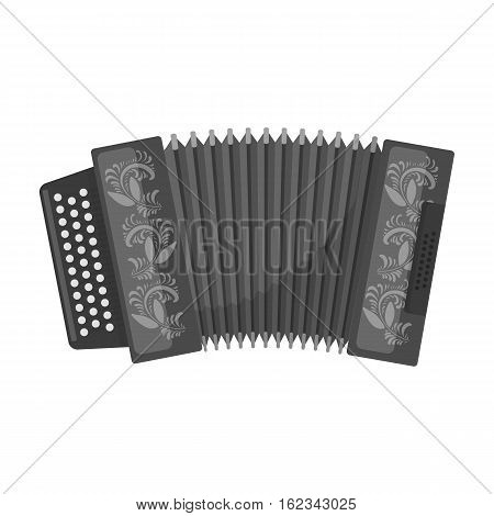 Classical bayan, accordion or harmonic icon in monochrome design isolated on white background. Russian country symbol stock vector illustration.
