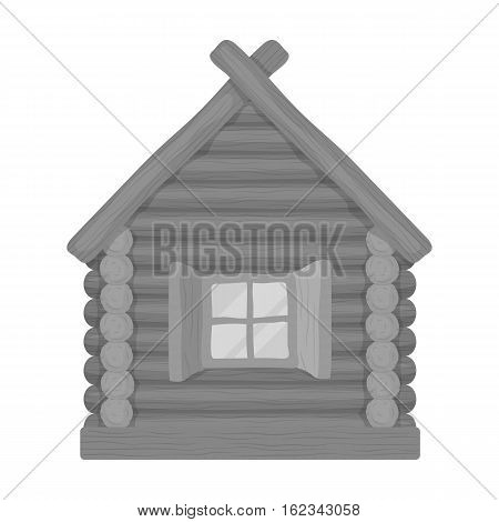 Wooden house icon in monochrome design isolated on white background. Russian country symbol stock vector illustration.