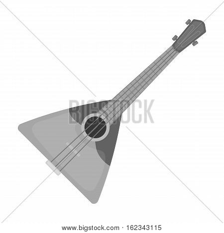 Balalaika icon in monochrome design isolated on white background. Russian country symbol stock vector illustration.
