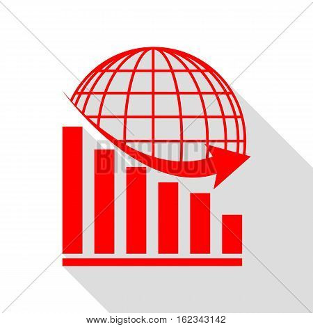 Declining Graph With Earth. Red Icon With Flat Style Shadow Path