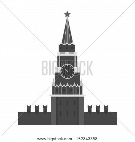 Kremlin icon in monochrome design isolated on white background. Russian country symbol stock vector illustration.