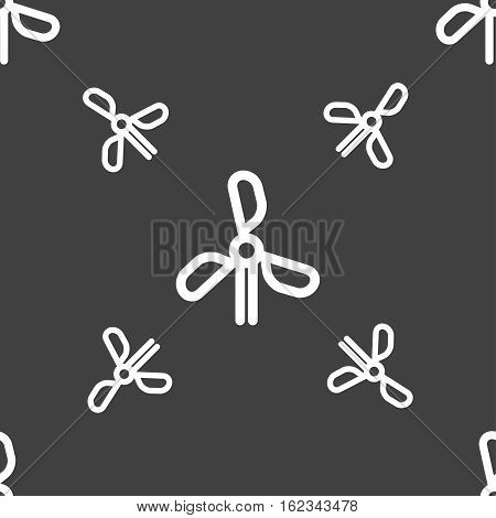 Wind Turbine Icon Sign. Seamless Pattern On A Gray Background. Vector