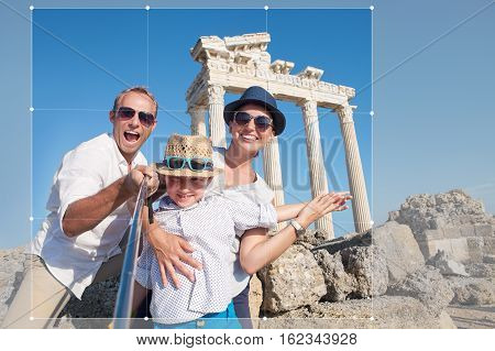 Happy family take selfie photo on summer vacation