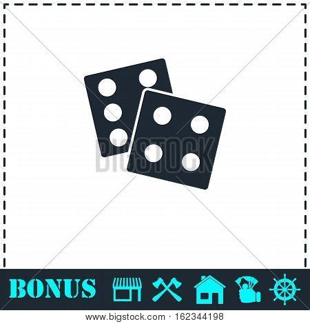 Dices icon flat. Simple vector symbol and bonus icon