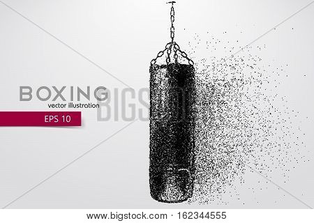 Punching bag from particles. Background and text on a separate layer, color can be changed in one click. Boxer. Boxing. Boxer silhouette