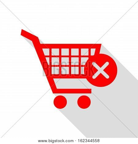 Shopping Cart With Delete Sign. Red Icon With Flat Style Shadow