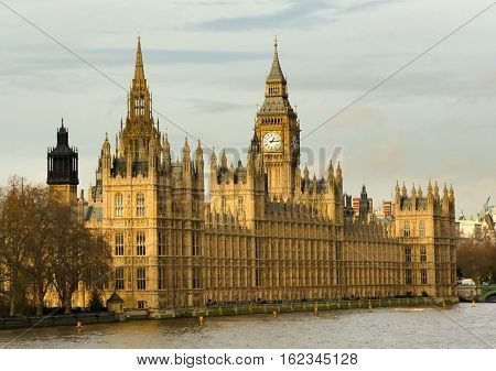 Westminster in London with Big Ben and the river themes taken from Lambeth bridge.