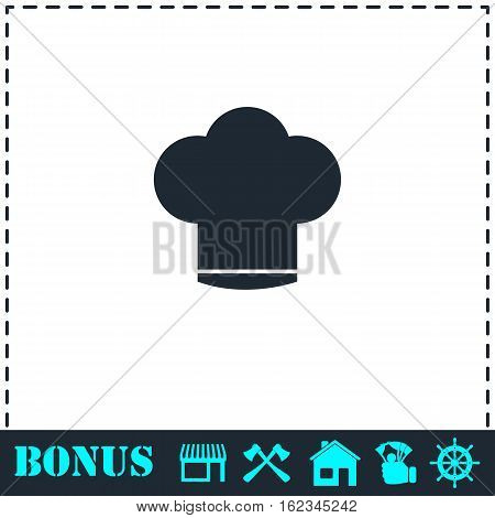 Chef hat icon flat. Simple vector symbol and bonus icon