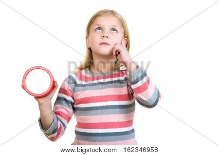 Cute girl with clock isolated over white background