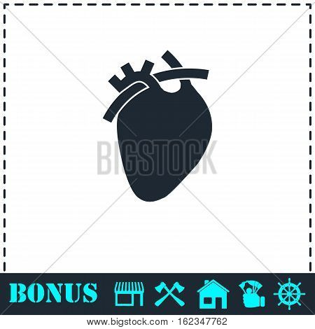 Heart icon flat. Simple vector symbol and bonus icon
