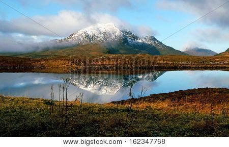 Autumn Golden Mountain and Field, Blue Sky, Big Cloud, Reflection on Sea, Nature of Scottish Highlands, Scotland, United Kingdom
