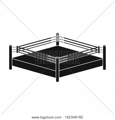 Boxing ring icon in black style isolated on white background. Boxing symbol vector illustration.