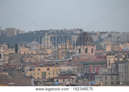 Naples, Italy skyline just after sunrise mid october