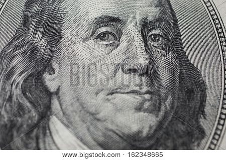 background of the money hundred dollar bills front side. background of dollars new hundred-dollar bil facel the evolution of the bill in one hundred dollars Benjamin Franklin