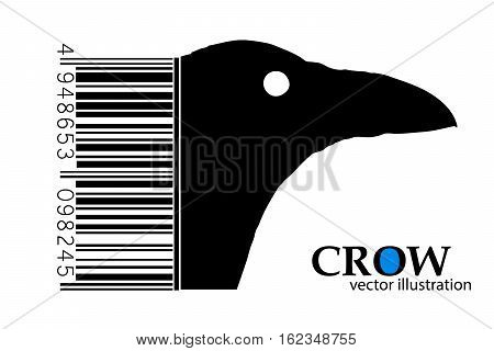 Silhouette of a crow. Background and text on a separate layer, color can be changed in one click.