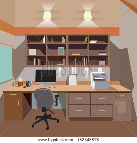 modern home office interior with desktop and printer