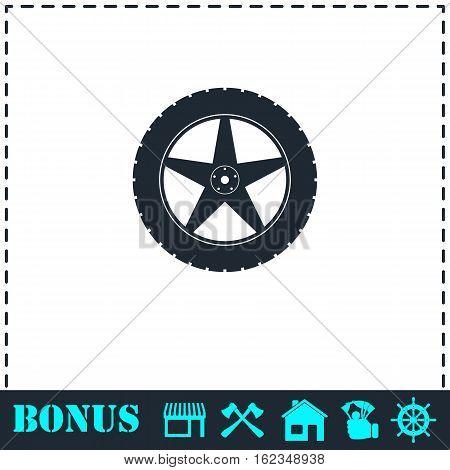 Tire icon flat. Simple vector symbol and bonus icon