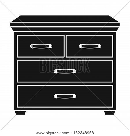 Wooden cabinet with drawers icon in black style isolated on white background. Furniture and home interior symbol vector illustration.
