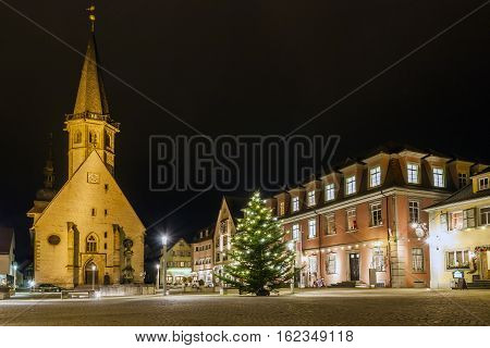 The center of town Weikersheim Germany Europe at night in christmas time.