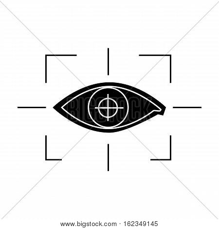 Focus of eye in the virtual reality icon in black style isolated on white background. Virtual reality symbol vector illustration.