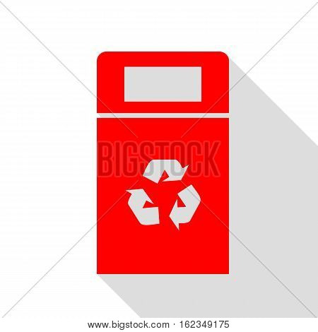 Trashcan Sign Illustration. Red Icon With Flat Style Shadow Path