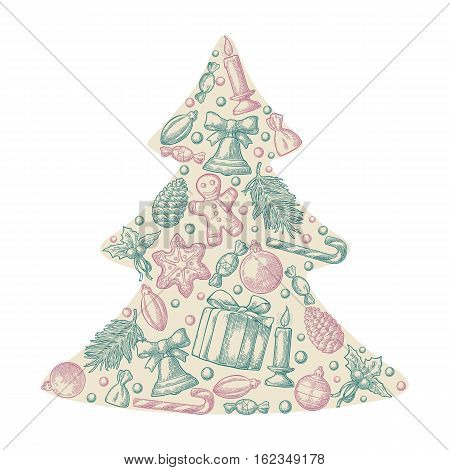 Set holiday objects in fir tree shape. Merry Christmas Happy New Year lettering. Gingerbread man pine cone box candy candle branch bell star toy. Vector vintage color engraving illustration