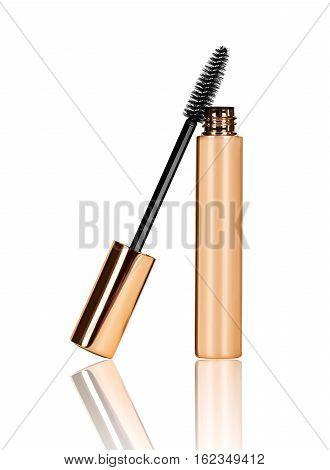 black mascara wand and tube isolated on white background