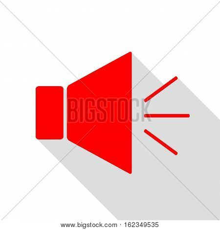 Sound Sign Illustration With Mute Mark. Red Icon With Flat Style
