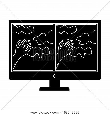 Virtual reality glasses overlay on monitor icon in black style isolated on white background. Virtual reality symbol vector illustration.