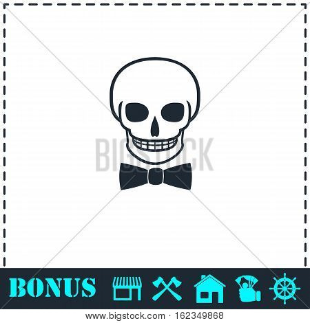 Skull icon flat. Simple vector symbol and bonus icon