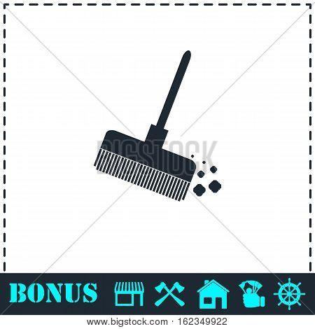 Mop bucket icon flat. Simple vector symbol and bonus icon