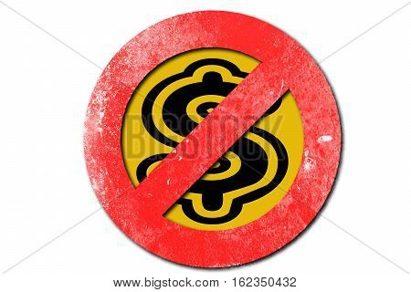 No Money Sign In Red With White Background