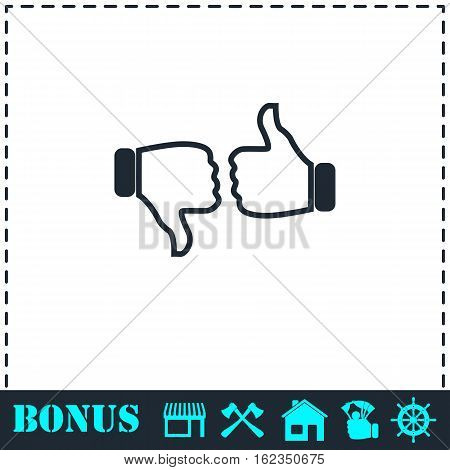 Dislike like icon flat. Simple vector symbol and bonus icon