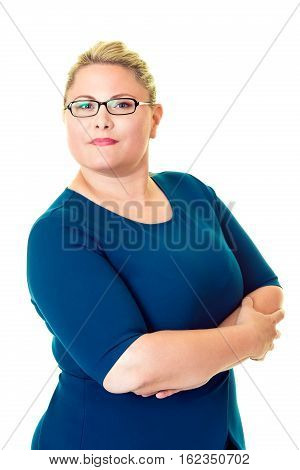 Confident Overweight Businesswoman On White