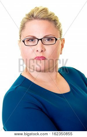 Serious Young Blond Businesswoman In Glasses
