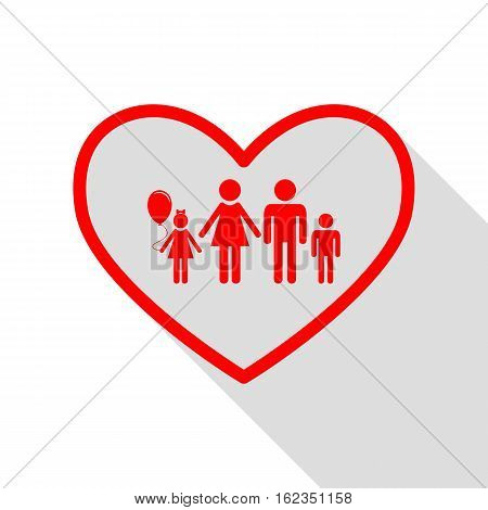 Family Sign Illustration In Heart Shape. Red Icon With Flat Styl