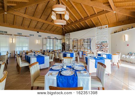 Cayo Coco island, Memories Carib hotel, June 30, 2016, amazing beautiful, gorgeous view of Cuban restaurant cozy interior ready to serve their guests