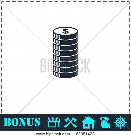 Cent icon icon flat. Simple vector symbol and bonus icon